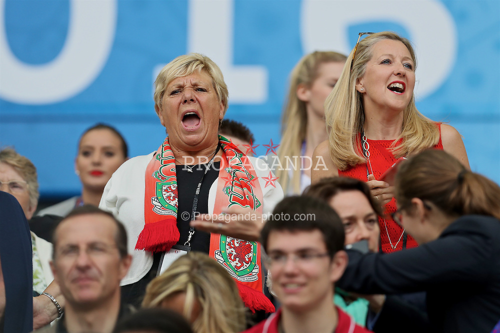 BORDEAUX, FRANCE - Saturday, June 11, 2016: Wife of FAW President David Griffiths during the UEFA Euro 2016 Championship match between Wales and Slovakia at Stade de Bordeaux. (Pic by David Rawcliffe/Propaganda)