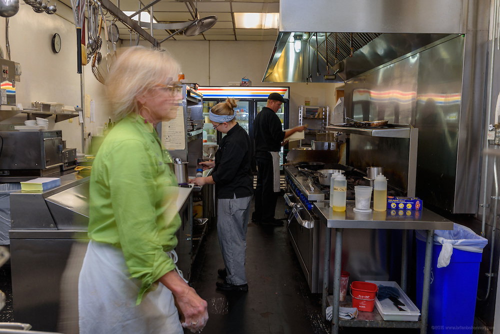 Chef Kathy Cary returns to her kitchen. Lunchtime in the kitchen at Lilly's Monday, Aug. 15, 2016 with Chef/Owner Kathy Cary and staff. (Photo by Brian Bohannon)