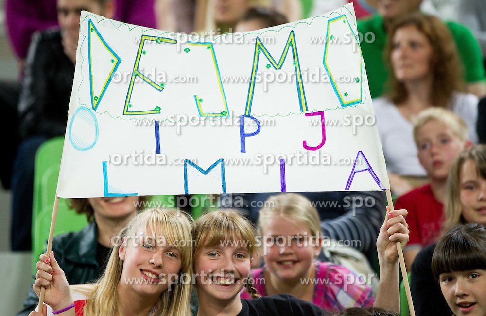 Supporters of Olimpija during basketball match between KK Union Olimpija and KK Krka in 2nd Final match of Telemach Slovenian Champion League 2011/12, on May 20, 2012 in Arena Stozice, Ljubljana, Slovenia. Krka defeated Union Olimpija 75-65. (Photo by Vid Ponikvar / Sportida.com)