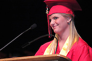 Jaime Siler speaks during the 102nd commencement of West Carrollton High School at the Schuster Center in downtown Dayton, Thursday, May 24, 2012.  This is the 50th anniversary of the year the selection of speakers for (and other parts of) the commencement has been done by the students.