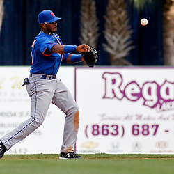 March 14, 2012; Lakeland, FL, USA; New York Mets second baseman Jordany Valdespin (61) against the Detroit Tigers during a spring training game at Joker Marchant Stadium. Mandatory Credit: Derick E. Hingle-US PRESSWIRE