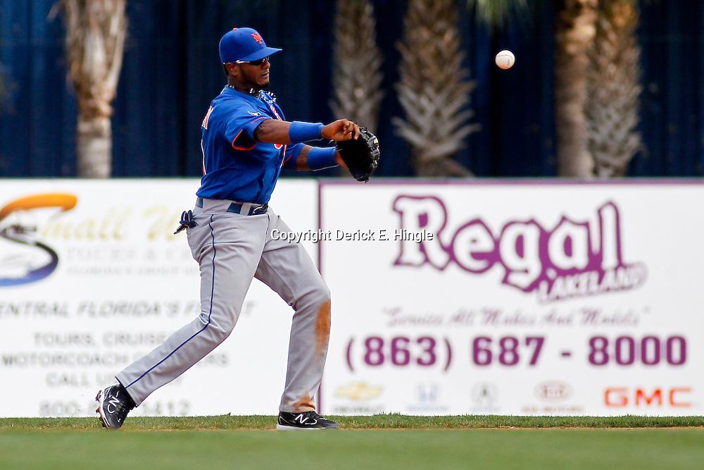 March 14, 2012; Lakeland, FL, USA; New York Mets second baseman Jordany Valdespin (61) against the Detroit Tigers during a spring training game at Joker Marchant Stadium. Mandatory Credit: Derick E. Hingle-US PRESSWIRE