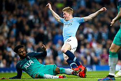 Kevin De Bruyne of Manchester City is tackled by Danny Rose of Tottenham Hotspur - Mandatory by-line: Robbie Stephenson/JMP - 17/04/2019 - FOOTBALL - Etihad Stadium - Manchester, England - Manchester City v Tottenham Hotspur - UEFA Champions League Quarter Final 2nd Leg
