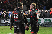 Chris Dean congratulates Jaco van der Walt for scoring try during the Guinness Pro 14 2017_18 match between Edinburgh Rugby and Southern Kings at Myreside Stadium, Edinburgh, Scotland on 5 January 2018. Photo by Kevin Murray.