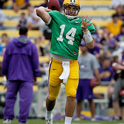 18 April 2009: LSU Tigers quarterback Chris Garrett looks to pass during the 2009 LSU spring football game at Tiger Stadium in Baton Rouge, LA.