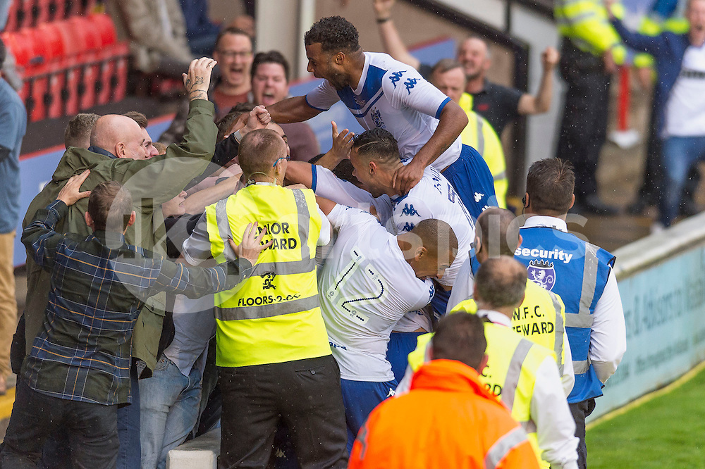 Bury players celebrate with their supporters after equalising during the EFL Sky Bet League 1 match between Walsall and Bury at the Banks's Stadium, Walsall, England on 27 August 2016. Photo by Darren Musgrove.
