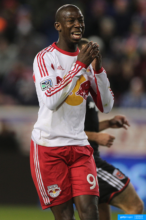 Bradley Wright-Phillips, New York Red Bulls, reacts after shooting wide during the New York Red Bulls V DC United, MLS Cup Playoffs, Eastern Conference Semifinals first leg at Red Bull Arena, Harrison, New Jersey. USA. 2nd November 2014. Photo Tim Clayton
