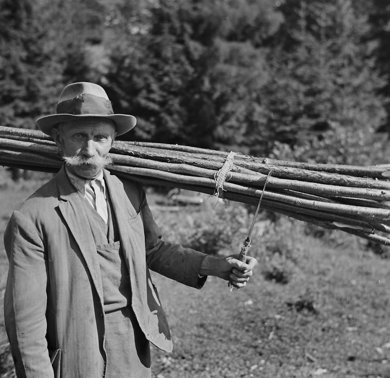Man with bundle of wood over shoulder, Faak, Austria, 1938