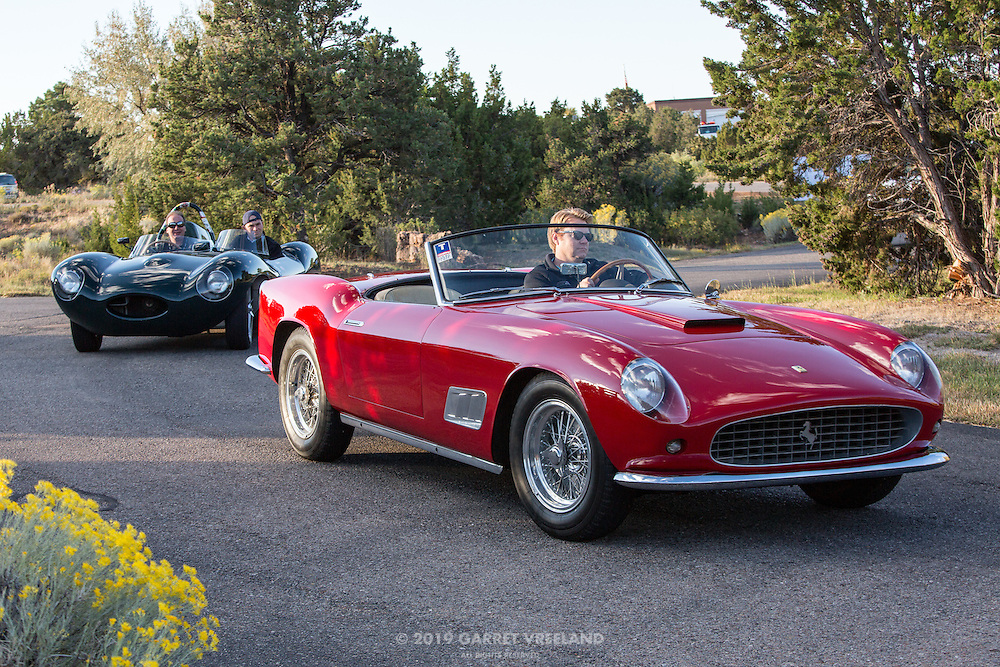 1958 Ferrari 250GT Long Wheelbase California Spyder and 1956 Jaguar D-Type. What a pair! On the 2012 Santa Fe Concorso High Mountain Tour.