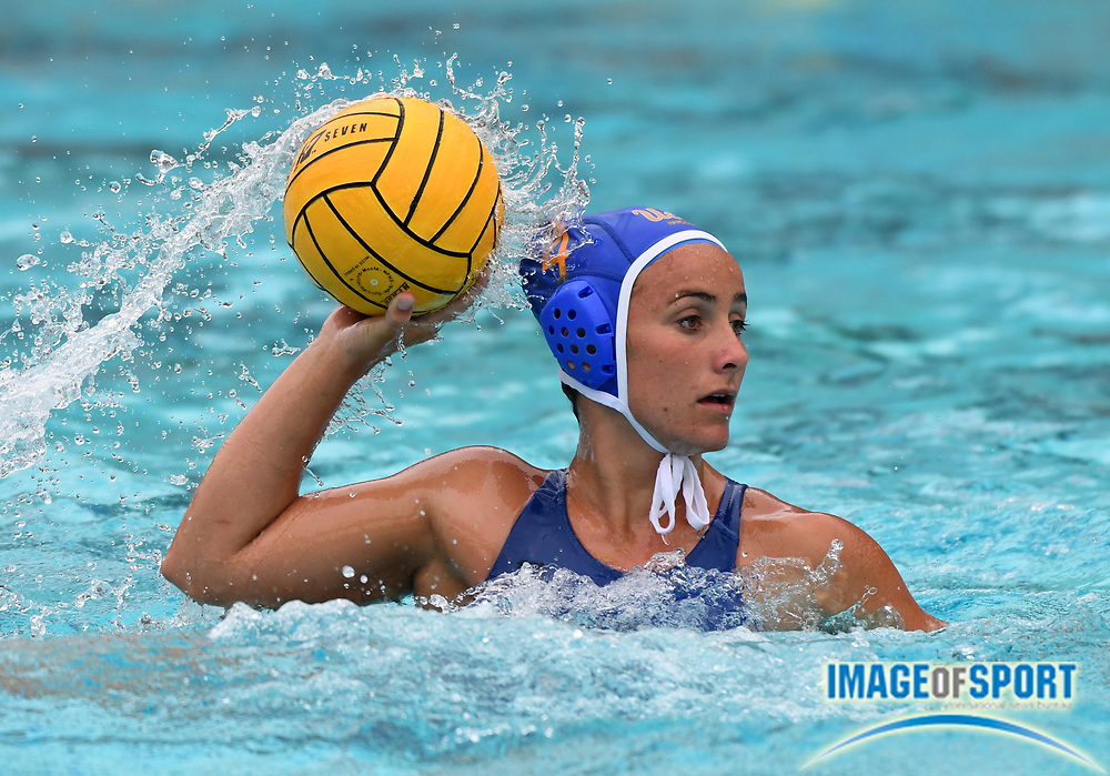 UCLA Bruins defender Rachel Whitelegge (4) against the Pacific Tigers during an NCAA college women's water polo quarterfinal game in Los Angeles, Friday, May 11, 2018. UCLA defeated Pacific, 8-4.
