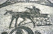 Roman cart.  Mosaic from the Frigidarium, Ostia, Italy.