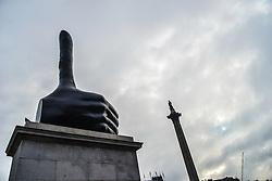 October 22, 2016 - London, England, United Kingdom - The sculpture 'Really Good', by David Shrigley, stands on the fourth plinth of Trafalgar Square on October 22, 2016 in London, England. (Credit Image: © Jonathan Nicholson/NurPhoto via ZUMA Press)