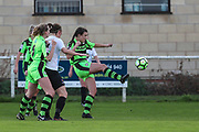 Forest Green Rovers Holly Timbrell(8) clears the ball during the South West Womens Premier League match between Forest Greeen Rovers Ladies and Marine Academy Plymouth LFC at Slimbridge FC, United Kingdom on 5 November 2017. Photo by Shane Healey.