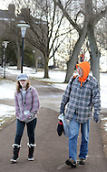 URSINUS12P<br /> From left, Ursinus College freshman Bailey Ehasz, 19, and her father Mark Ehasz walk past Wismer Hall Thursday February 11, 2016 at Ursinus College in Collegeville, Pennsylvania. Mark came to pick his daughter up when he heard classes and activities were cancelled until Monday. 185 students became sick at the school since Tuesday night. The Montgomery County Health Department and the school are investigating the cause. (William Thomas Cain/For The Inquirer)