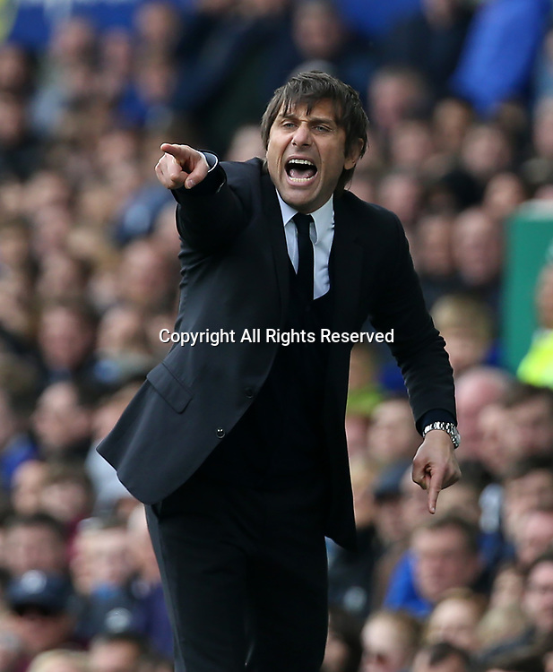 April 30th 2017, Goodison Park, Liverpool, England; EPL Premier league football, Everton versus Chelsea; Antonio Conte , Chelsea manager points the way to his players