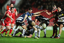Bristol Rugby Scrum-Half Craig Hampson clears the ball - Mandatory byline: Dougie Allward/JMP - 22/01/2016 - RUGBY - Ashton Gate -Bristol,England - Bristol Rugby v Ulster Rugby - B&I Cup