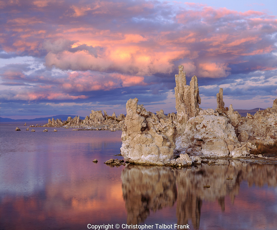 I set up my 4x5 view camera to take a photo of tufa formations at sunset on Mono Lake in the Sierra Nevada Mountains.  The odd spires rise from the lake towards the large pink thunderheads.