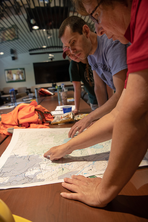 OHIO Associate Professor Dr. Viorel Popescu helps train and coordinate Conservation Ecology Lab students working on  research at the Wayne National Forest headquarters. Photo by Ben Siegel