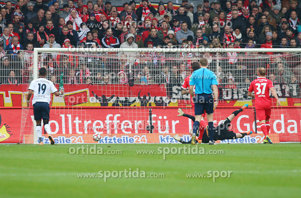 22.11.2014, Alte F&ouml;rsterei, Berlin, GER, 2. FBL, 1. FC Union Berlin vs TSV 1860 Muenchen, 14. Runde, im Bild TW Daniel Haas (1. FC Union Berlin) streckt sich vergeblich // SPO during the 2nd German Bundesliga 14th round match between 1. FC Union Berlin and TSV 1860 Muenchen at the Alte F&ouml;rsterei in Berlin, Germany on 2014/11/22. EXPA Pictures &copy; 2014, PhotoCredit: EXPA/ Eibner-Pressefoto/ Hundt<br /> <br /> *****ATTENTION - OUT of GER*****