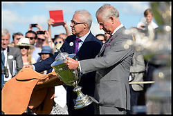 HRH The Prince of Wales hands out the Trophies after England beat The USA in the  Audi International Polo 2013-Westchester Cup Polo match Audi England v Equus & Co USA at the <br /> Guards Polo Club, Egham, United Kingdom,<br /> Sunday, 28th July 2013<br /> Picture by Andrew Parsons / i-Images