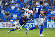 Joe Bennett (3) of Cardiff City is fouled by Anfernee Dijksteel (2) of Middlesbrough during the EFL Sky Bet Championship match between Cardiff City and Middlesbrough at the Cardiff City Stadium, Cardiff, Wales on 21 September 2019.