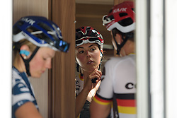 Lisa Klein prepares for Stage 8 of the Giro Rosa - a 141.8 km road race, between Baronissi and Centola fraz. Palinuro on July 7, 2017, in Salerno, Italy. (Photo by Sean Robinson/Velofocus.com)