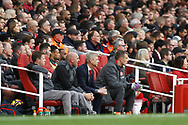 Arsenal Manager Arsene Wenger watches on from the dugout. Premier league match, Arsenal v Swansea city at the Emirates Stadium in London on Saturday 28th October 2017.<br /> pic by Steffan Bowen, Andrew Orchard sports photography.