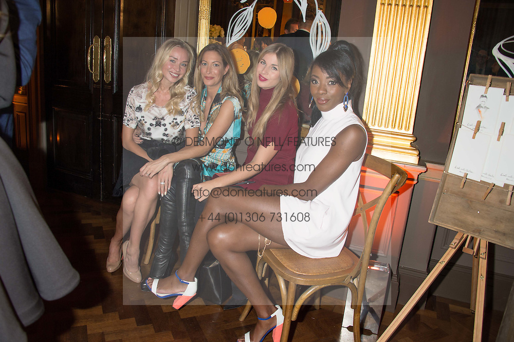 Left to right, NOELLE RENO, LAURA PRADELSKA, FRANCESCA HODGE and AJ ODUDU at the Cointreau Creative Crew Launch at the Cafe Royal, Regent's Street, London on 27th October 2015.