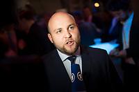 DEU, Deutschland, Germany, Berlin, 24.09.2017: Markus Frohnmaier (AfD) bei der Wahlparty der Partei Alternative für Deutschland (AfD) am Alexanderplatz. Die AfD wird zukünftig im Deutschen Bundestag vertreten sein.