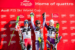 """Second placed Zettel Kathrin (AUT), winner Shiffrin Mikaela (USA) and third placed Loeseth Nina (NOR) celebrate at flower ceremony after the FIS Alpine Ski World Cup 2014/15 5th Ladies' Slalom race named """"Snow Queen Trophy 2015"""", on January 4, 2015 in Course Crveni Spust at Sljeme hill, Zagreb, Croatia.  Photo by Vid Ponikvar / Sportida"""