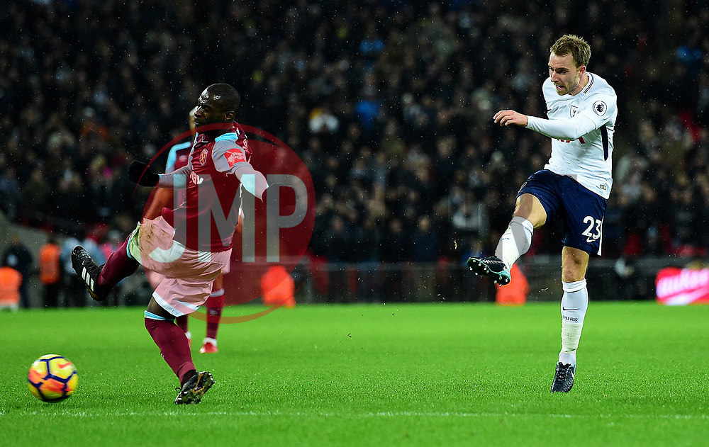 Christian Eriksen of Tottenham Hotspur shoots at goal. - Mandatory by-line: Alex James/JMP - 04/01/2018 - FOOTBALL - Wembley Stadium - London, England - Tottenham Hotspur v West Ham United - Premier League