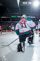 KELOWNA, CANADA - APRIL 7: Brodan Salmond #31 of the Kelowna Rockets stretches on the ice during warm up against the Portland Winterhawks on April 7, 2017 at Prospera Place in Kelowna, British Columbia, Canada.  (Photo by Marissa Baecker/Shoot the Breeze)  *** Local Caption ***
