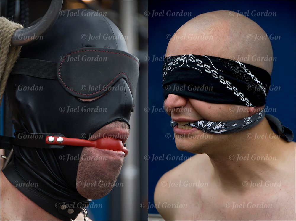 S&M Bondage, slave with blindfold and gag at Folsom Street East, S&M-leather-fetish themed street festival.