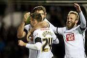 Derby County forward Andreas Weimann celebrates his goal with team mates during the Sky Bet Championship match between Derby County and Cardiff City at the iPro Stadium, Derby, England on 21 November 2015. Photo by Aaron Lupton.