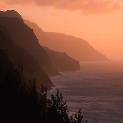 Na Pali Cliffs at Sunset from Kalalau Trail, Kauai, Hawaii, US