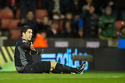 STOKE-ON-TRENT, ENGLAND - Boxing Day Wednesday, December 26, 2012: Liverpool's Luis Alberto Suarez Diaz appeals for a penalty against Stoke City during the Premiership match at the Britannia Stadium. (Pic by David Rawcliffe/Propaganda)