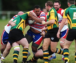 WELLINGBOROUGHS REECE PARILLON TRIES TO BREAK THROUGH BUGBROOKES DEFENCE, Wellingborough Rugby RFC v Bugbrooke RFC, Midlands 1 East League, Cut Throat Lane Gound, Gt Doddington, Saturday 3rd September 2016