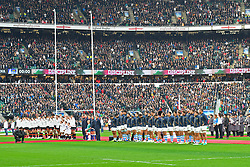 November 11, 2017 - London, England, United Kingdom - England & Argentina line up during Old Mutual Wealth Series between England against Argentina at Twickenham stadium , London on 11 Nov 2017  (Credit Image: © Kieran Galvin/NurPhoto via ZUMA Press)