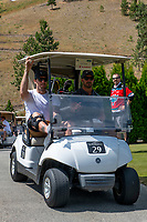 KELOWNA, CANADA - JULY 21: Shea Weber shares a cart with Josh Gorges at the Kelowna Rockets Alumni golf tournament at Black Mountain Golf Club in Kelowna, British Columbia, Canada.  (Photo by Marissa Baecker/Shoot the Breeze)  *** Local Caption ***