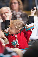 KELOWNA, CANADA - NOVEMBER 6: A Kelowna Rockets fan celebrates a goal against the Red Deer Rebels on NOVEMBER 6, 2013 at Prospera Place in Kelowna, British Columbia, Canada.   (Photo by Marissa Baecker/Shoot the Breeze)  ***  Local Caption  ***