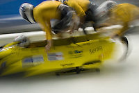 The Swiss teams compete in the Mens' four-person bobsleigh World Cup competition held at the Whistler Sliding Centre on Feb 7, 2009