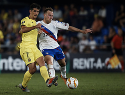 September 20, 2018 - Vila-Real, Castellon, Spain - Gerard Moreno (L) of Villarreal CF competes for the ball with Scott Arfield of Rangers during the UEFA Europa League group G match between Villarreal CF and Rangers at Estadio de la Ceramica on September 20, 2018 in Vila-real, Spain  (Credit Image: © David Aliaga/NurPhoto/ZUMA Press)