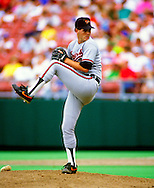 KANSAS CITY, MO-1989: Gregg Olson pitches during an MLB game against the Kansas City Royals at Royals Stadium in Kansas City Missouri during the 1989 season.  Olson pitched for the Orioles from 1988-1993.  (Photo by Ron Vesely)