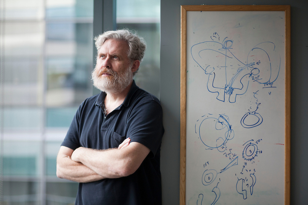 08/15/2012 -- BOSTON -- Harvard biologist George Church poses for a portrait in his office on Aug. 15, 2012. Church recently completed a book on DNA and encoded it into 70 billion copies as DNA ? small enough to fit in a single drop in a test tube. ..CREDIT: Kelvin Ma for the Wall Street Journal..DNABOOK