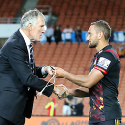 Chiefs' first five Aaron Cruden with New Zealand Rugby Vice President Maurice Trapp during the Investec Super  Rugby match between the Chiefs and Blues at FMG Waikato Stadium in Hamilton, New Zealand on Friday 3 March 2017. Photo: Dion Mellow / lintottphoto.co.nz