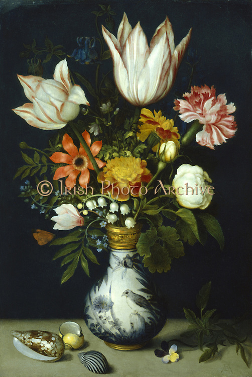 Flower piece. Tulips, roses, carnations, French marigolds, Lily-of-the-Valley, Aquelegia, Forget-Me-Not, Heartsease and other flowers in a porcelain vase.  Artist, Ambrosius Bosschaert the Elder (1573-1621). Oil on copper. Dutch. Private collection.
