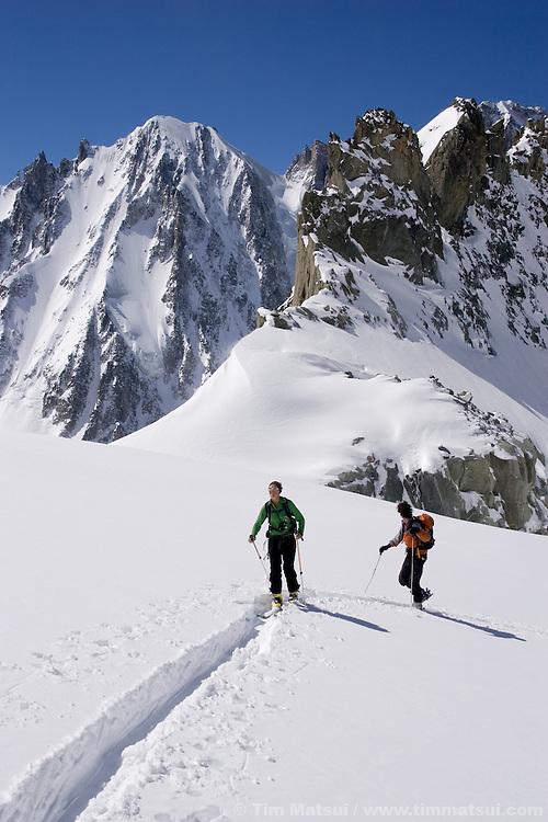 Ski touring to the Col du Tour Noir up the Amethyst Glacier, Chamonix, France.