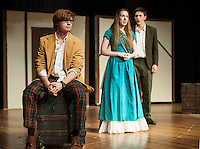 """Jeff Douglas (John Hammond) with Fiona MacLaren (Brittney Pond) and Tommy Albright (Michael O'Brien) during dress rehearsal for """"Brigadoon"""" at Laconia High School Wednesday afternoon.  (Karen Bobotas/for the Laconia Daily Sun)"""