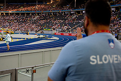 Primoz Kozmus of Slovenia  and his coach Vladimir Kevo in the men's Hammer Throw Final during day three of the 12th IAAF World Athletics Championships at the Olympic Stadium on August 17, 2009 in Berlin, Germany. (Photo by Vid Ponikvar / Sportida)
