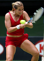 MELBOURNE, AUSTRALIA - JANUARY 20:  Ashley Harkelroad of USA in action against Venus Williams of USA during day two of the Australian Open. 20/01/2004, in Melbourne, Australia. (Photo by Lars Mueller/Sportsbeat) *** Local Caption *** Ashley Harkelroad